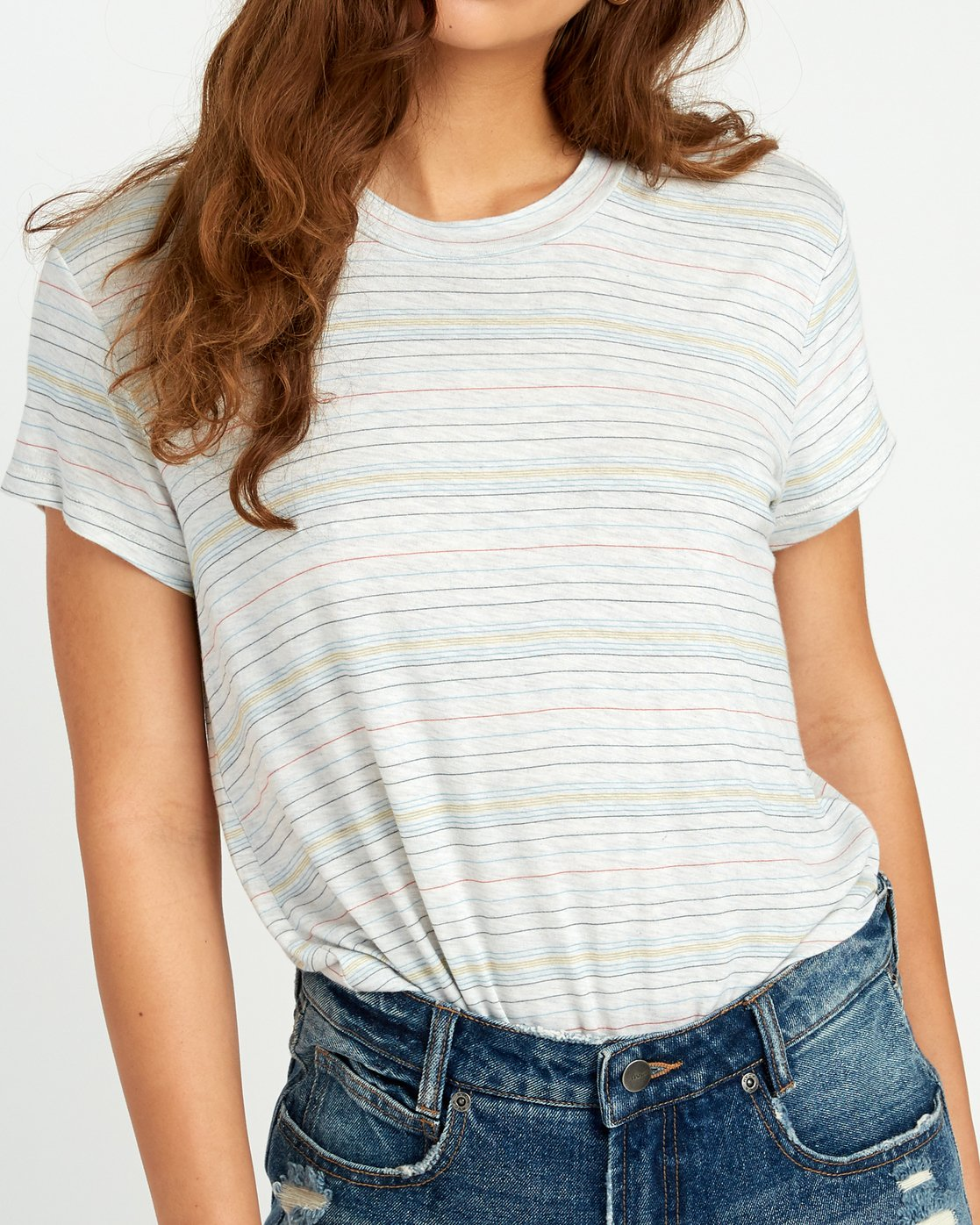 4 Recess Striped Knit T-Shirt White WK905REC RVCA