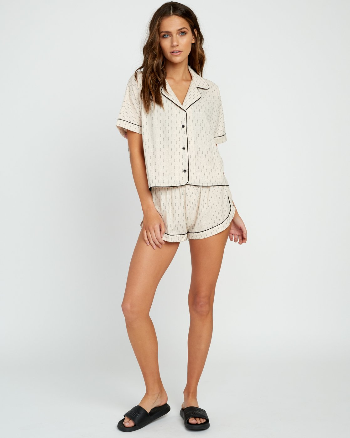 4 Tainted PJ Button-Up Top Beige WL03URTA RVCA