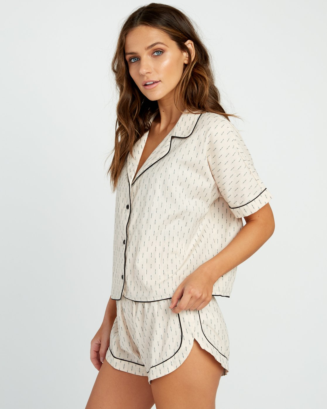 1 Tainted PJ Button-Up Top Beige WL03URTA RVCA