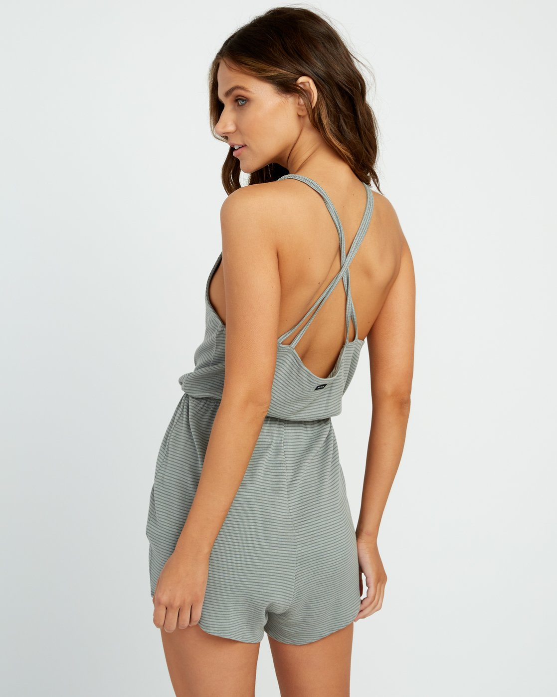2 Soul Striped Knit Lounge Romper Green WL05URSR RVCA