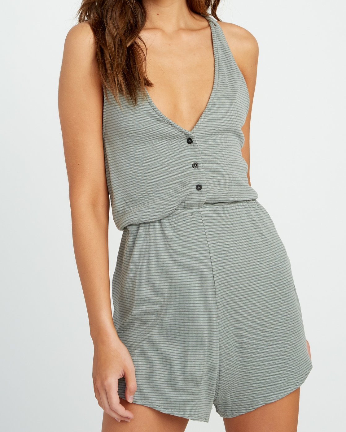 3 Soul Striped Knit Lounge Romper Green WL05URSR RVCA