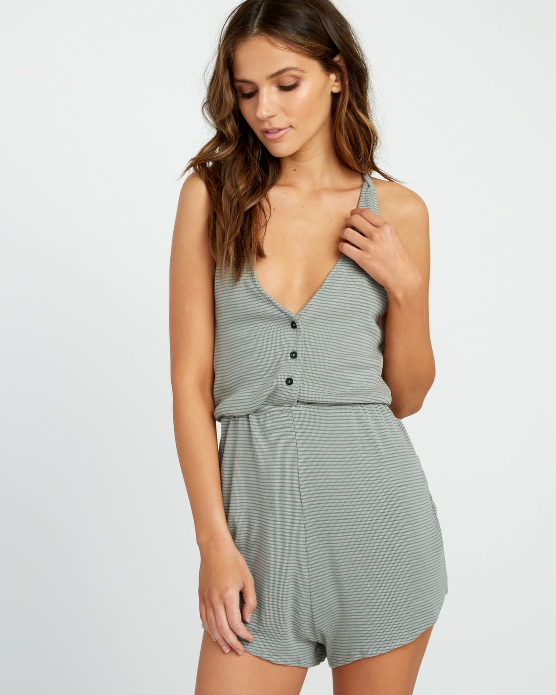 0 Soul Striped Knit Lounge Romper Green WL05URSR RVCA