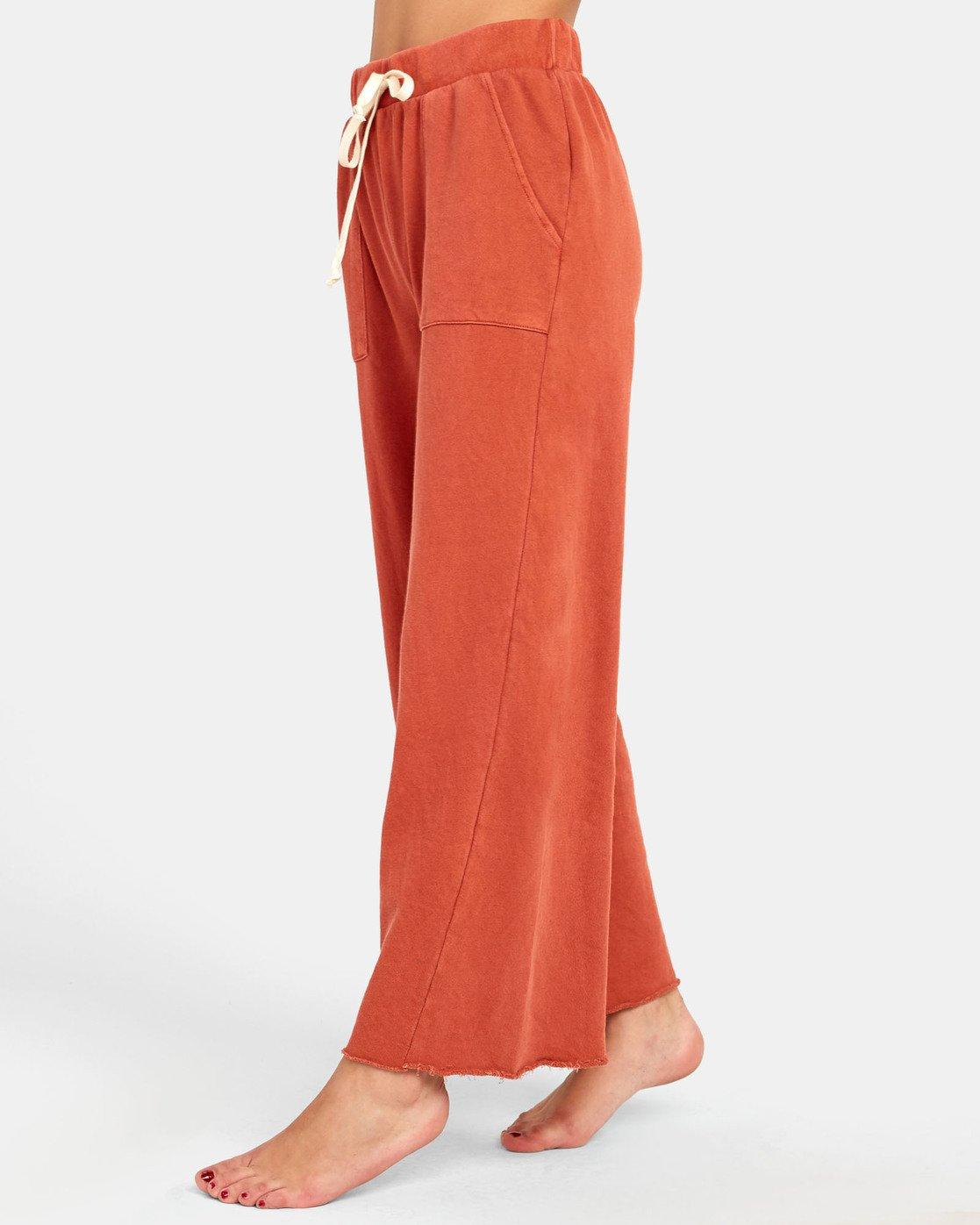 3 PEPPER WIDE LEG FLEECE PANT Orange WL071RPE RVCA