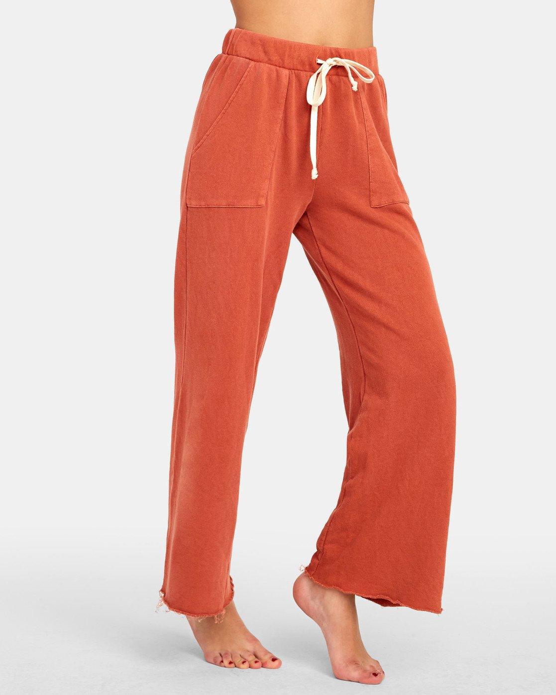 7 PEPPER WIDE LEG FLEECE PANT Orange WL071RPE RVCA