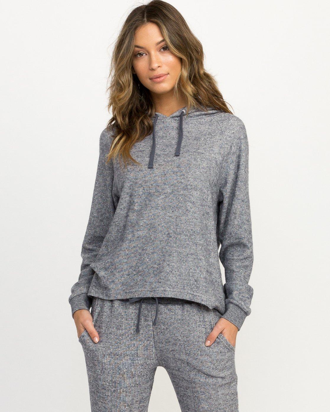 1 Leave It Ribbed Fleece Sweatshirt Blue WL07QRLE RVCA