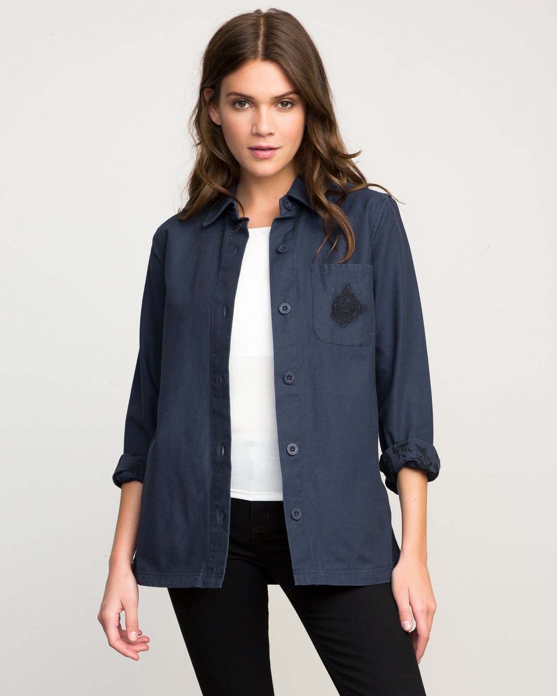 0 Bygone Button-Up Shirt Jacket Blue WL701BYG RVCA