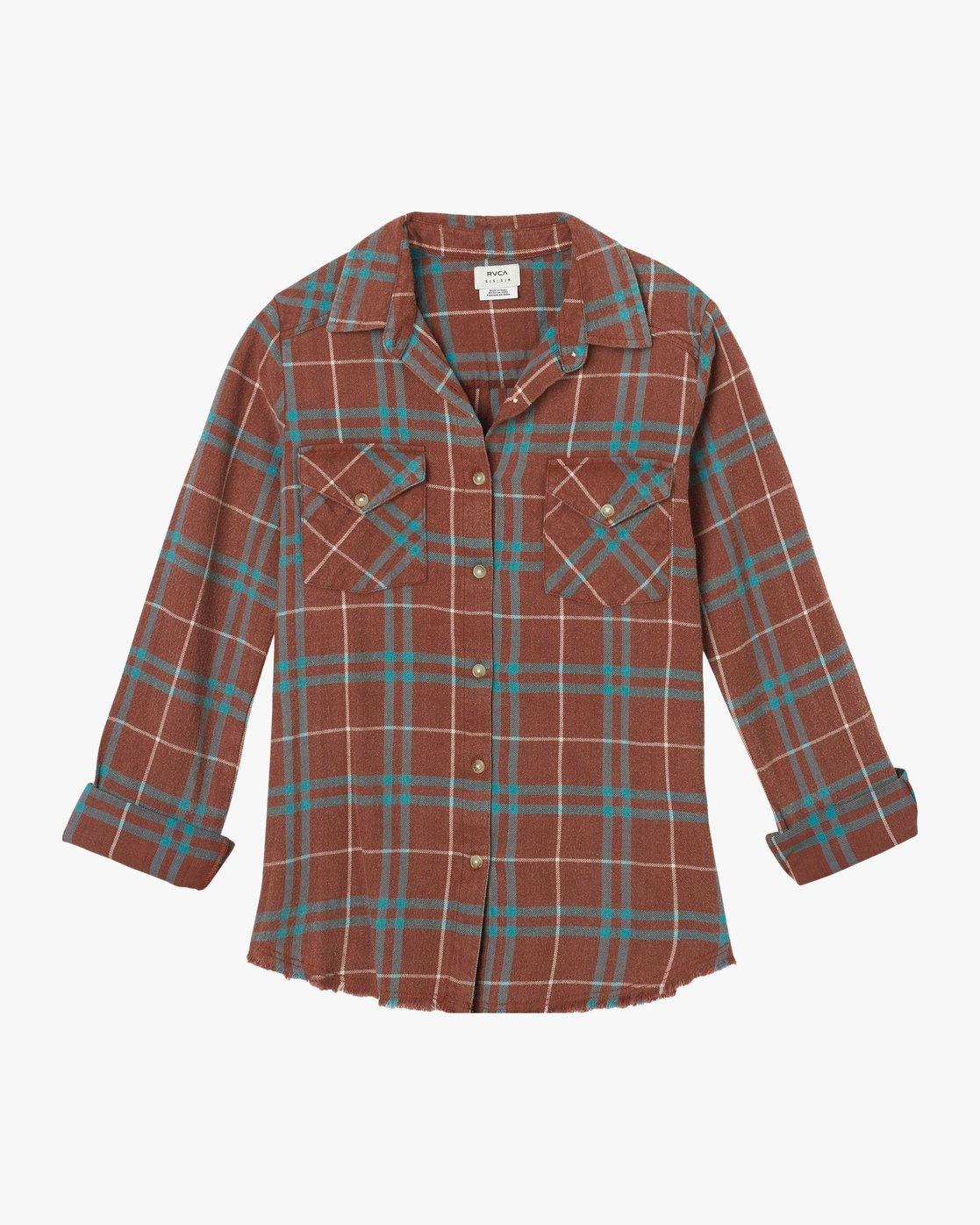 5 In A Haze Plaid Flannel Shirt Brown WM506INA RVCA
