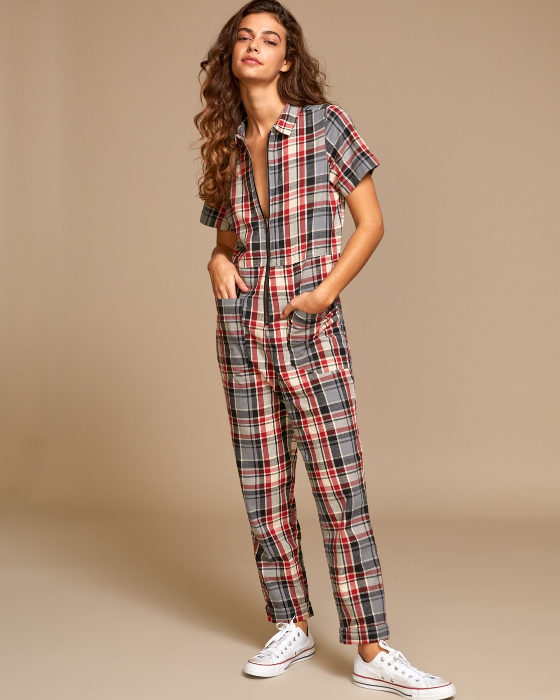 2 Atlas Plaid Coverall Brown WN01VRAT RVCA