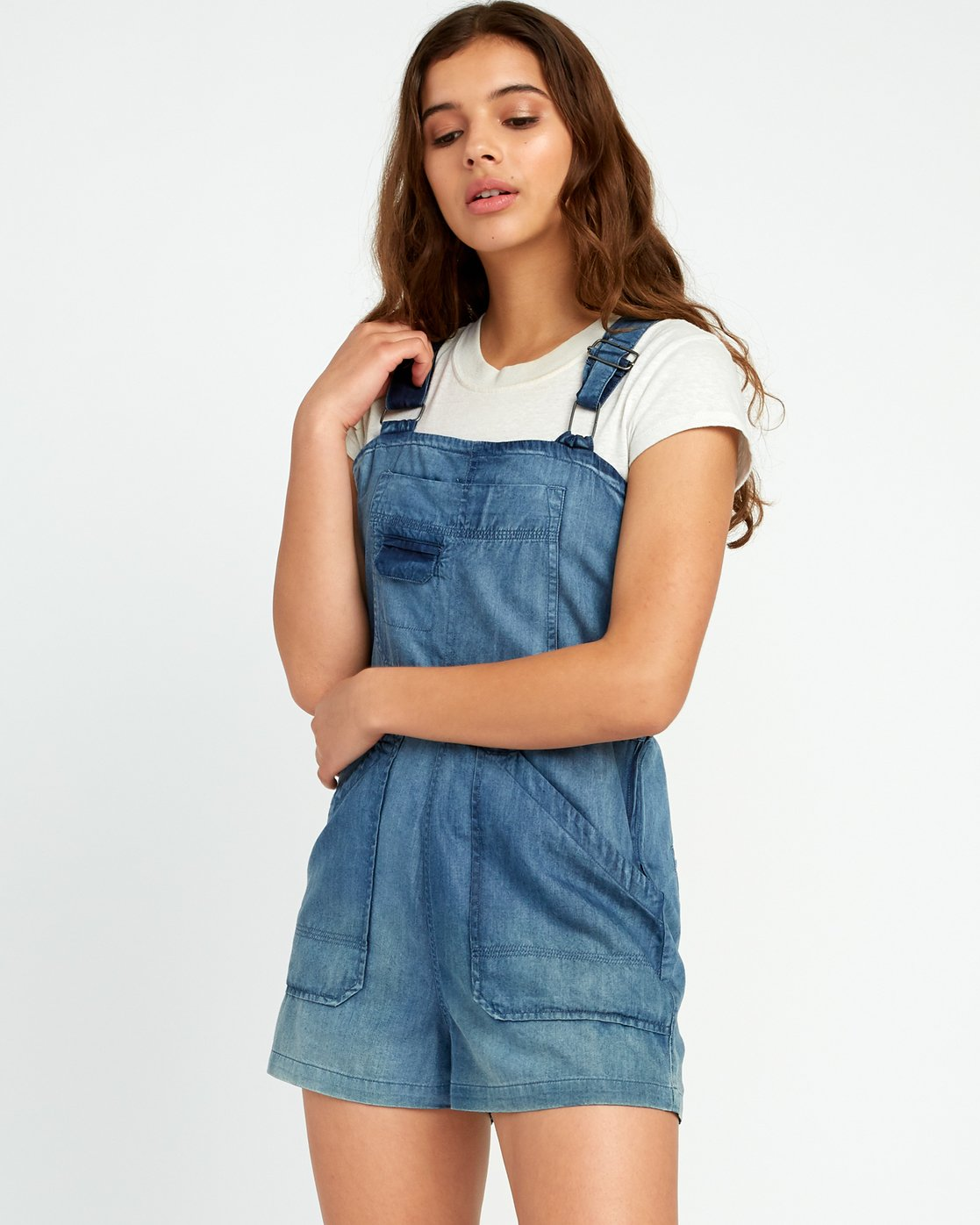 1 Crack It Chambray Overalls Blue WN03URCR RVCA
