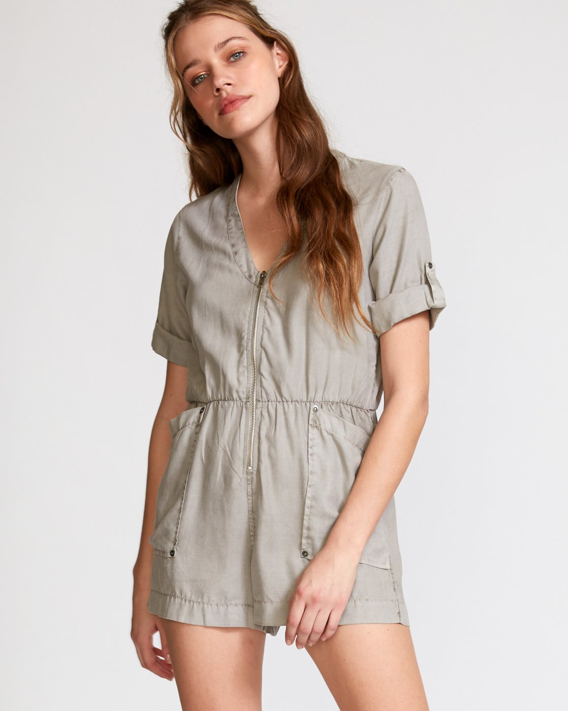 0 Drove Out Romper Grey WN03VRDR RVCA