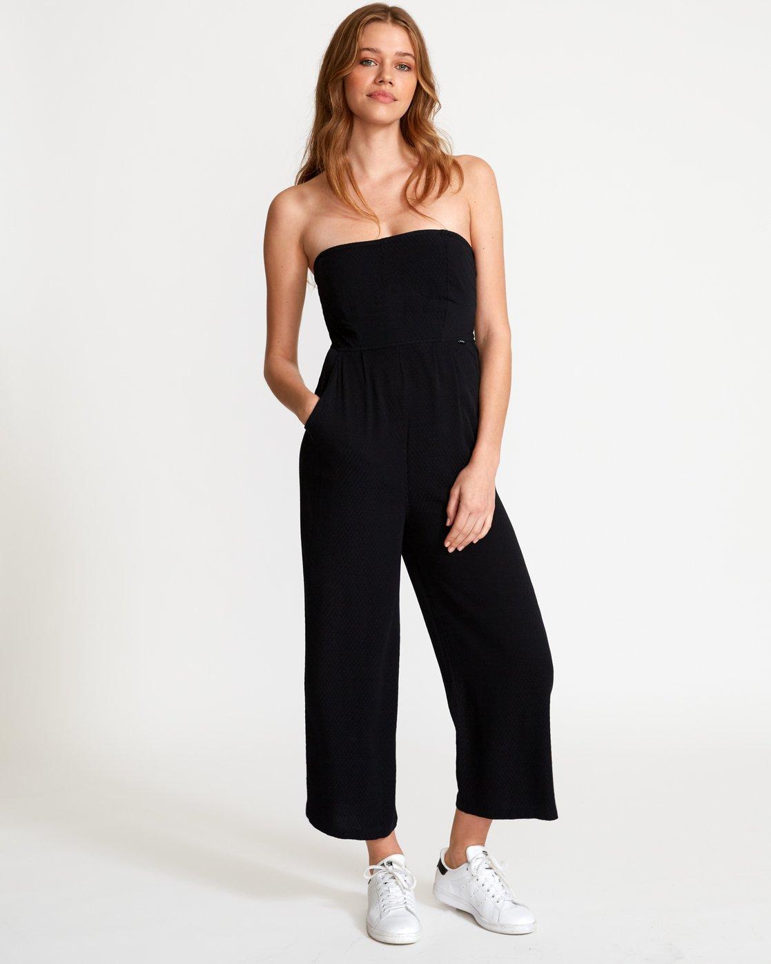 1 Social Strapless Jumpsuit Black WN04VRSO RVCA