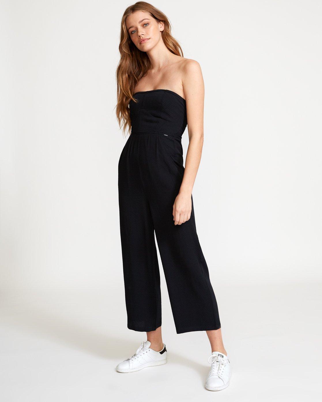 2 Social Strapless Jumpsuit Black WN04VRSO RVCA