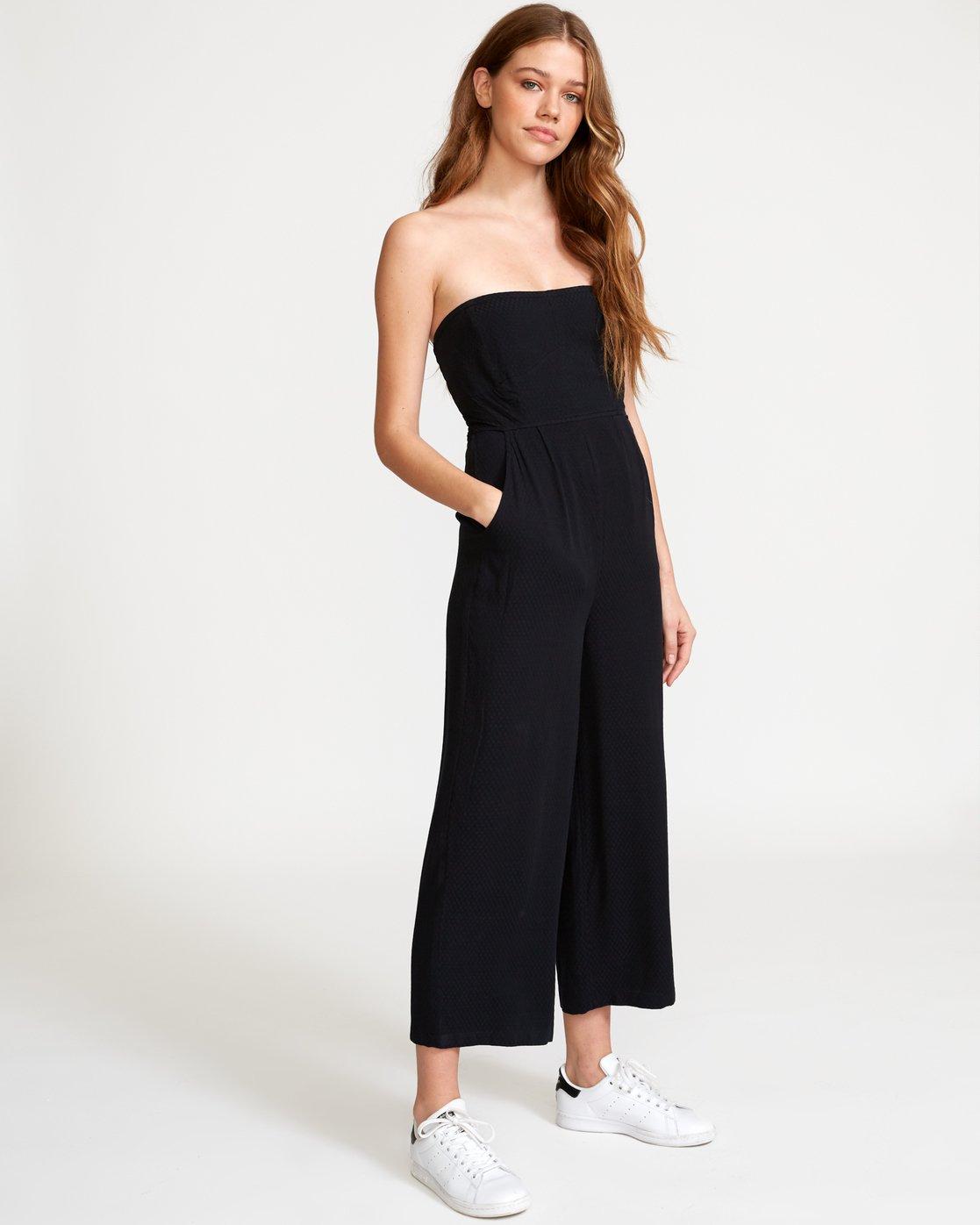 3 Social Strapless Jumpsuit Black WN04VRSO RVCA