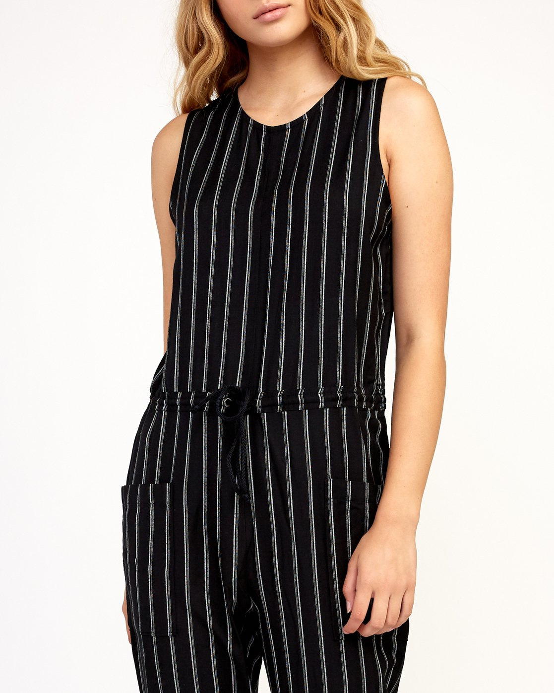 4 Pop Out Striped Jumpsuit Black WN05TRPO RVCA