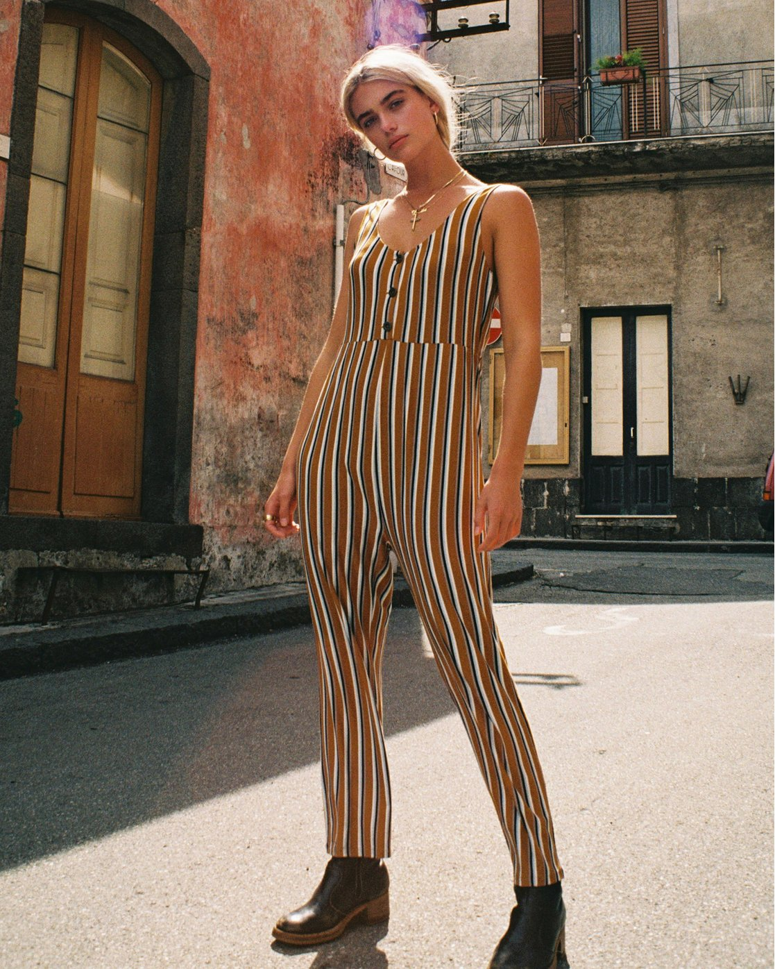 0 Carlton Striped Jumpsuit Brown WN08VRCA RVCA