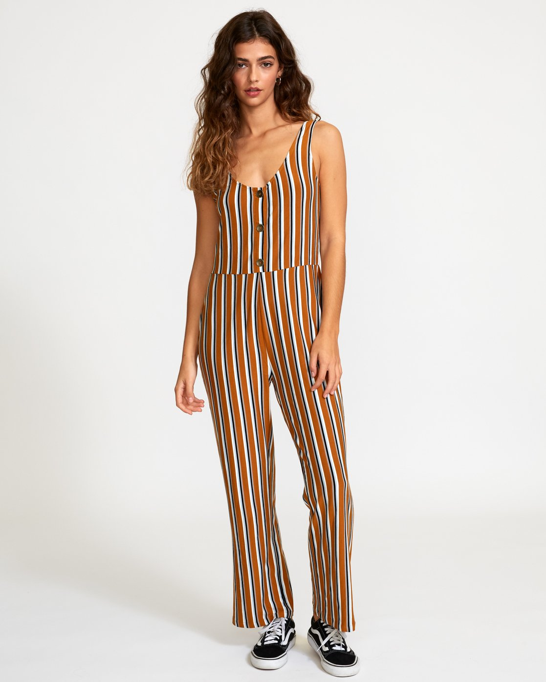 6 Carlton Striped Jumpsuit Orange WN08VRCA RVCA