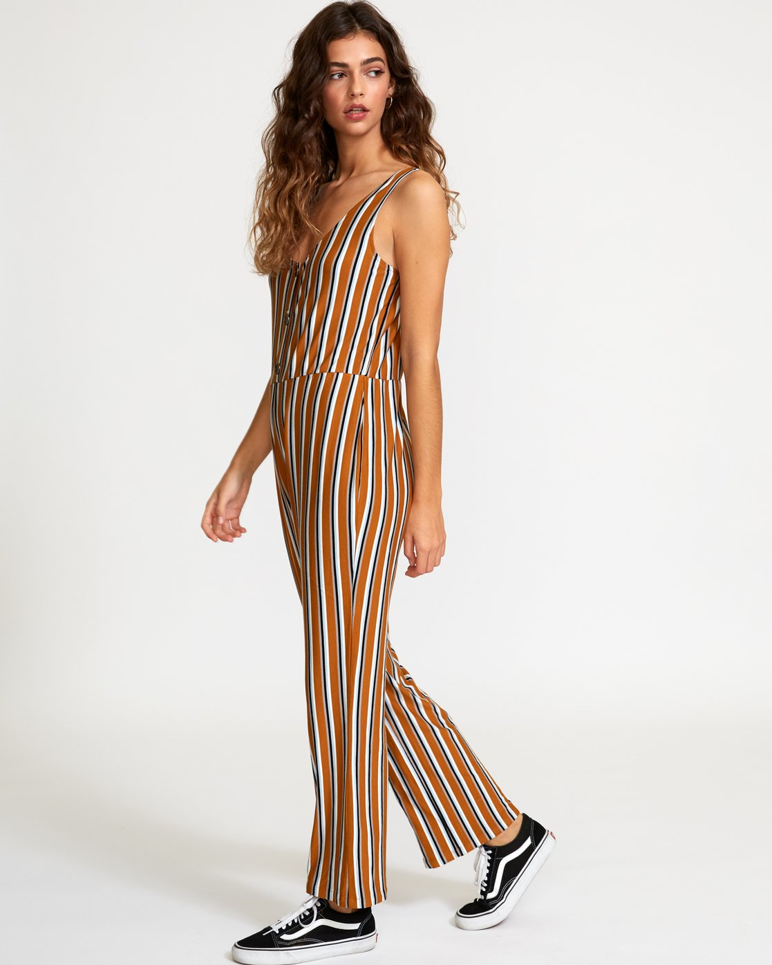 3 Carlton Striped Jumpsuit Brown WN08VRCA RVCA