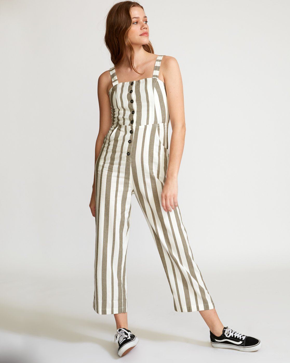 5 Stunnah Striped Jumpsuit Green WN09VRST RVCA