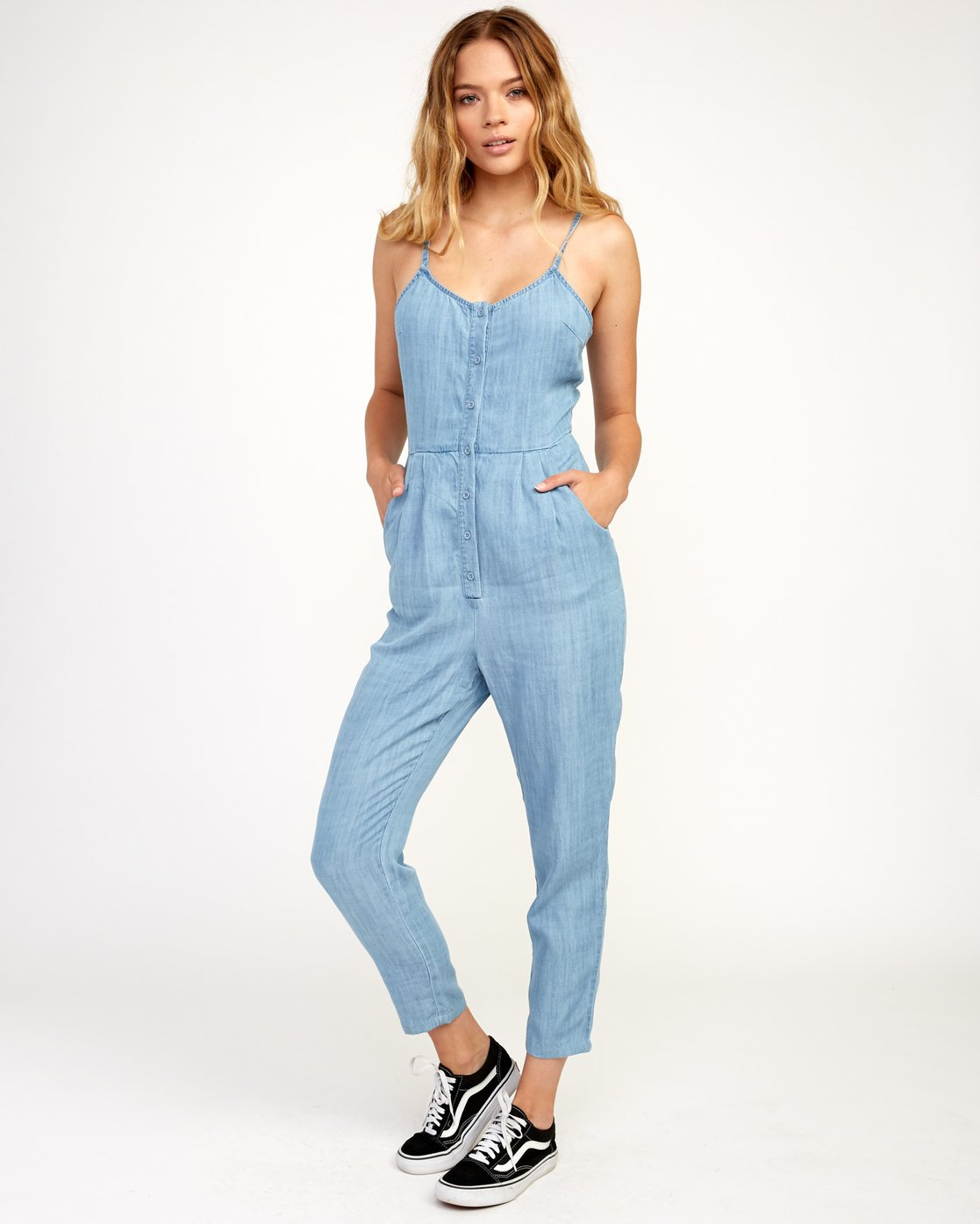 0 Flasher Chambray Jumpsuit Blue WN10TRFC RVCA