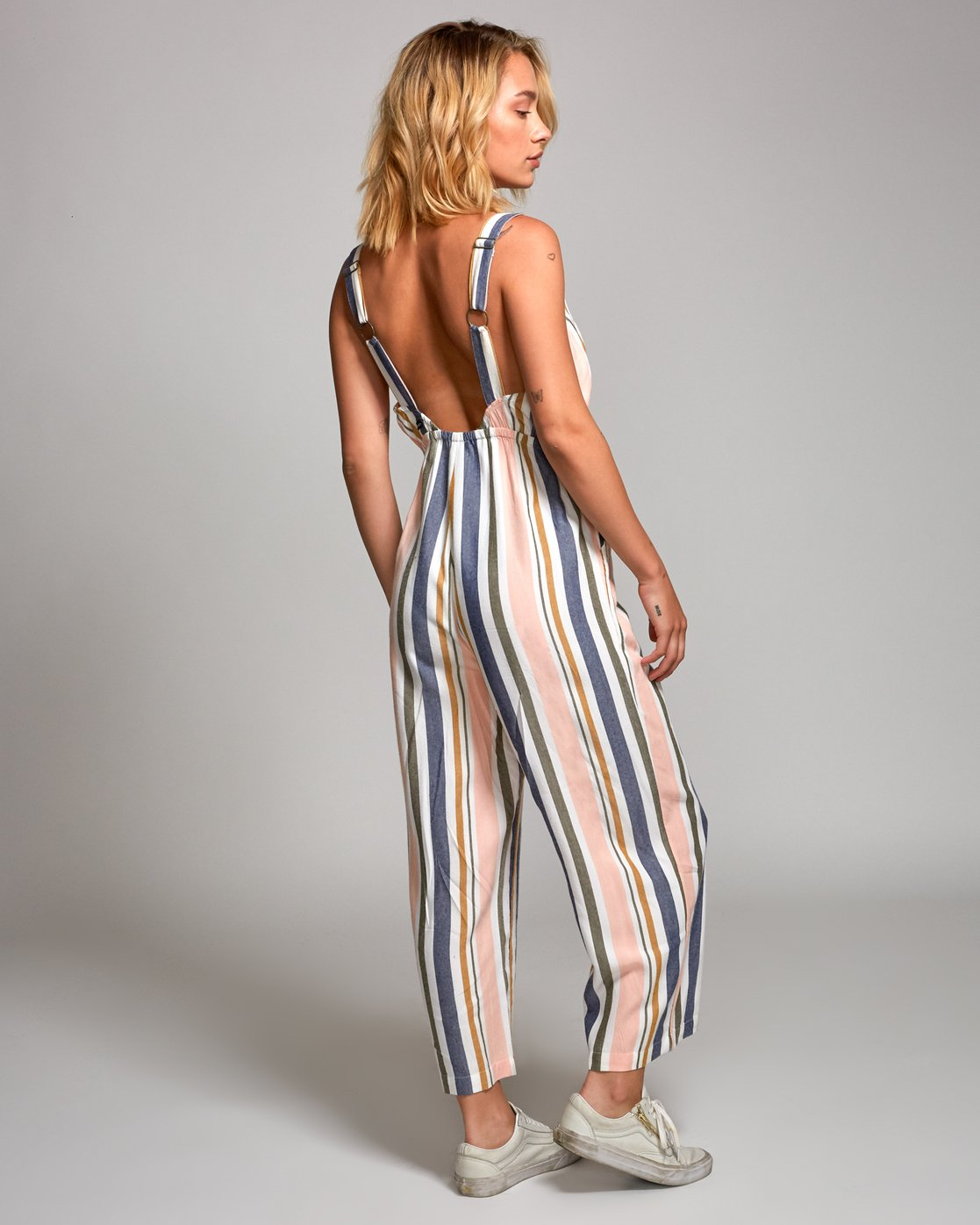3 Ursan Striped Jumpsuit Grey WN17URUR RVCA
