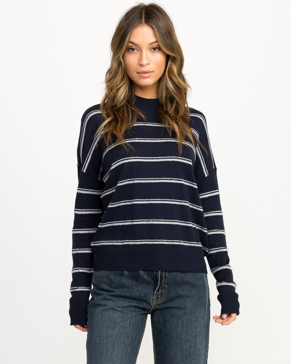 0 Armed Striped Sweater Blue WV01QRAR RVCA