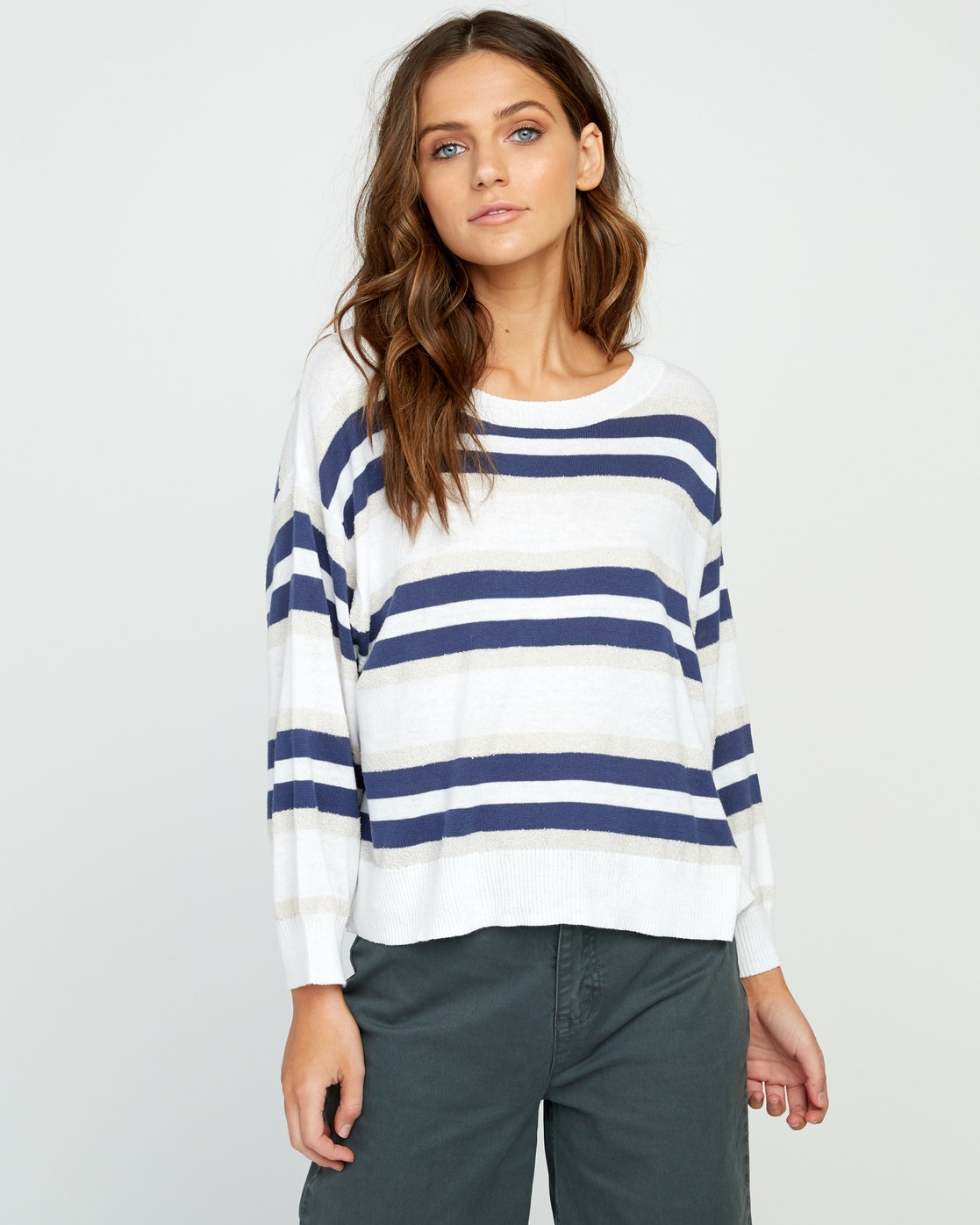 1 One Up Striped Sweater White WV01UROU RVCA