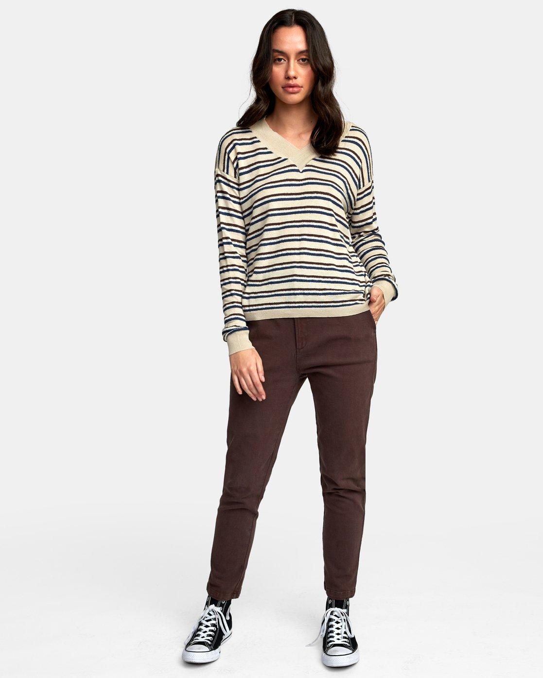 4 Abundant Lightweight Sweater Brown WV01WRAB RVCA