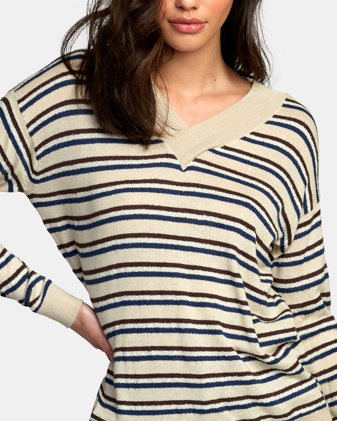 2 Abundant Lightweight Sweater Brown WV01WRAB RVCA