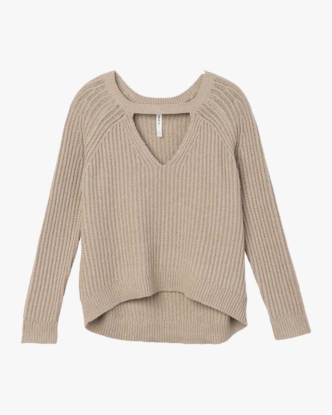4 Case Knit Keyhole Sweater Beige WV02QRCA RVCA