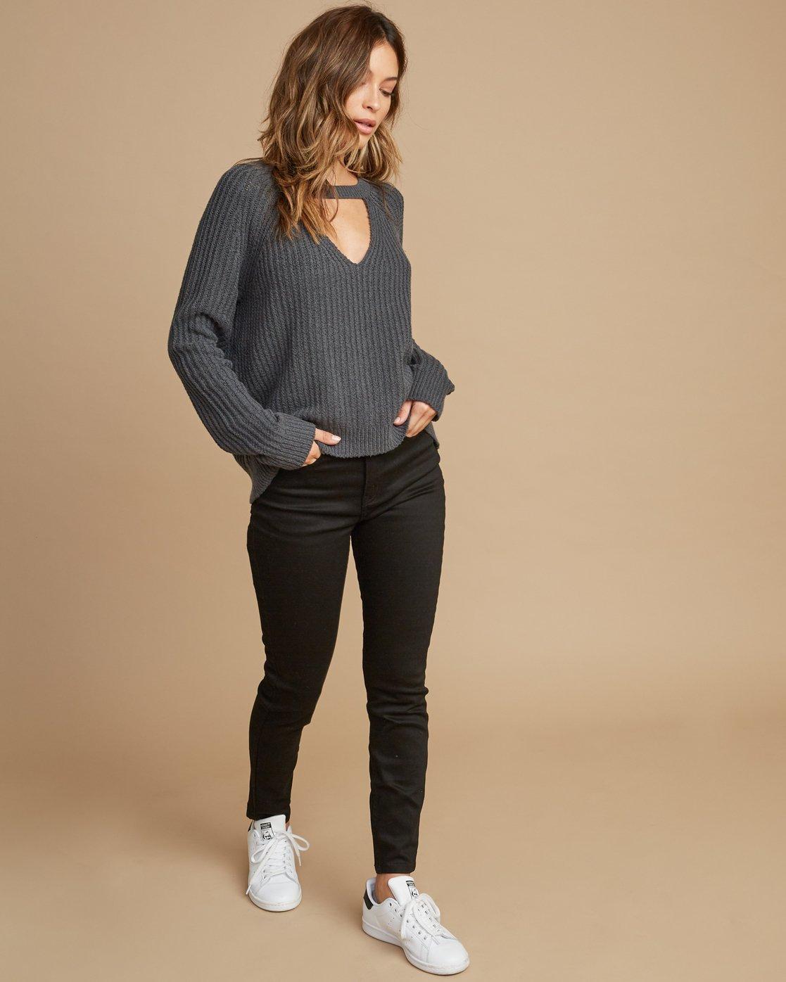 4 Case Knit Keyhole Sweater Grey WV02QRCA RVCA