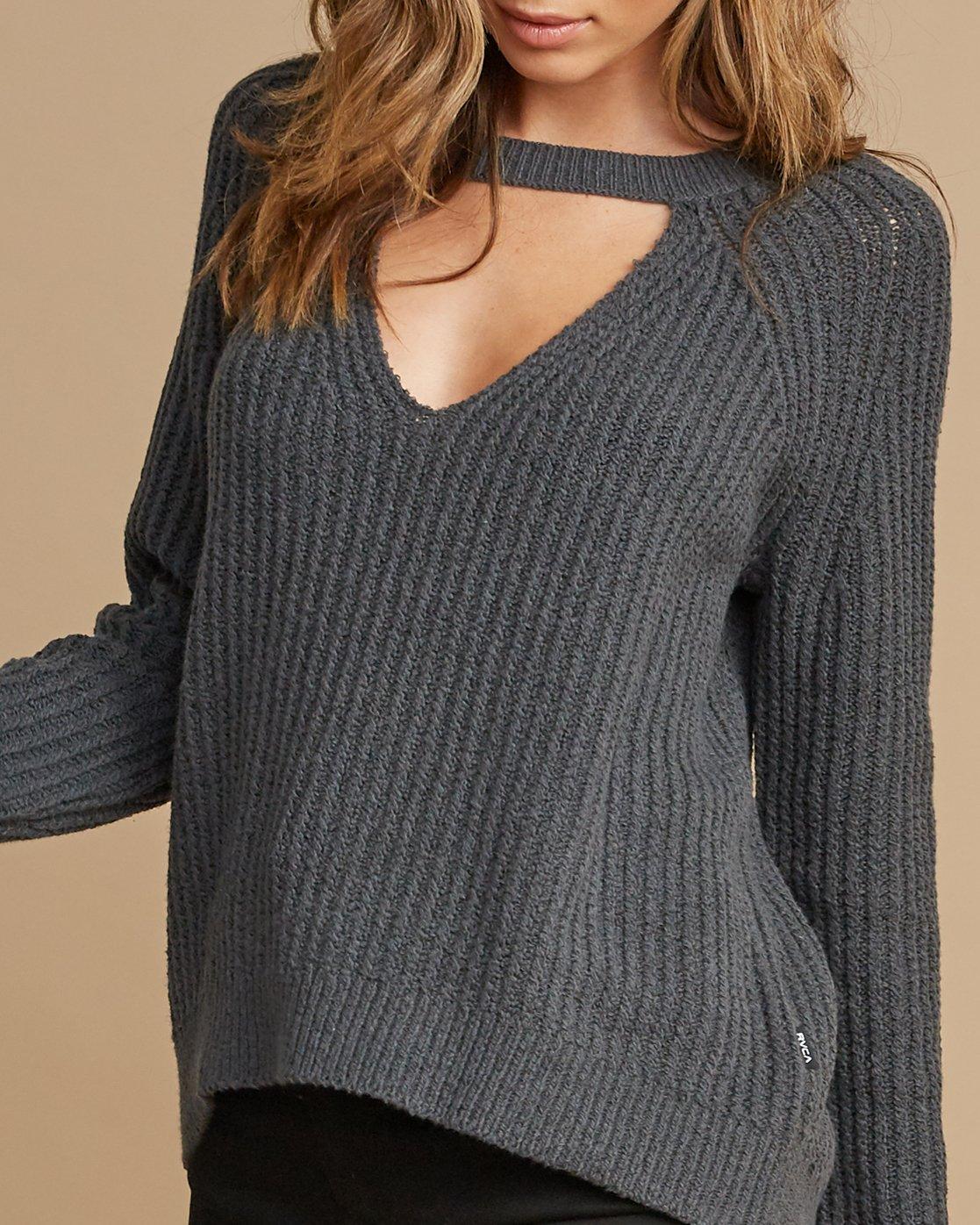 3 Case Knit Keyhole Sweater Grey WV02QRCA RVCA