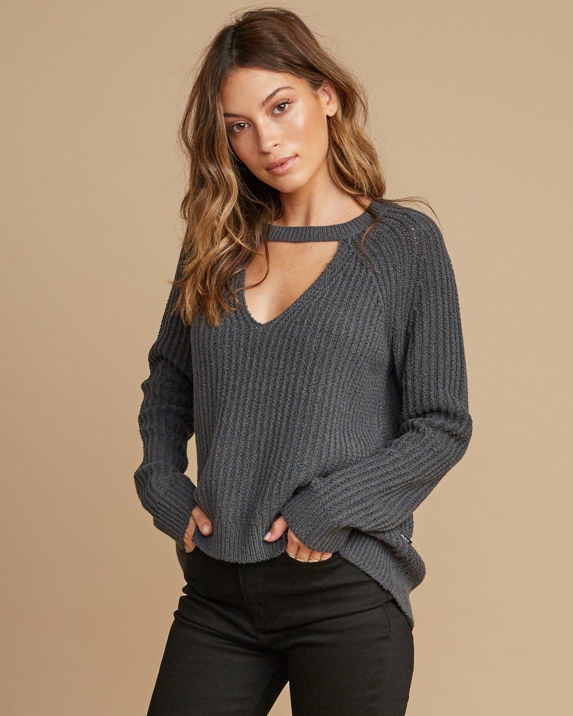0 Case Knit Keyhole Sweater Grey WV02QRCA RVCA