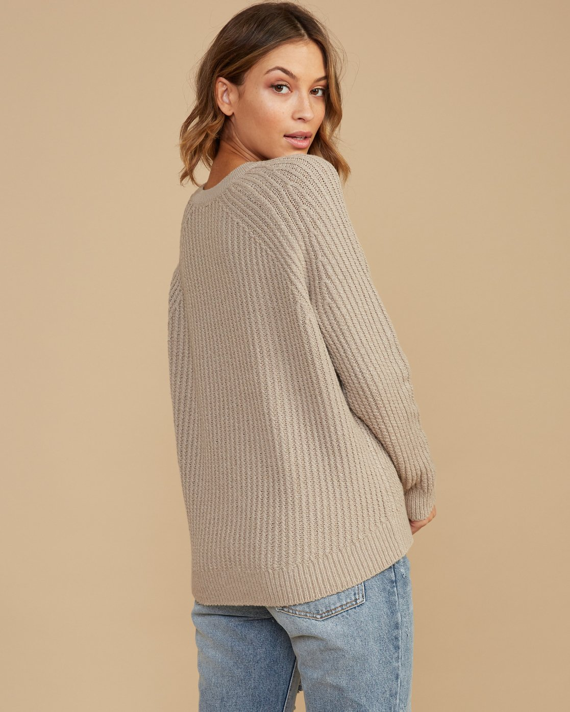 2 Case Knit Keyhole Sweater Brown WV02QRCA RVCA