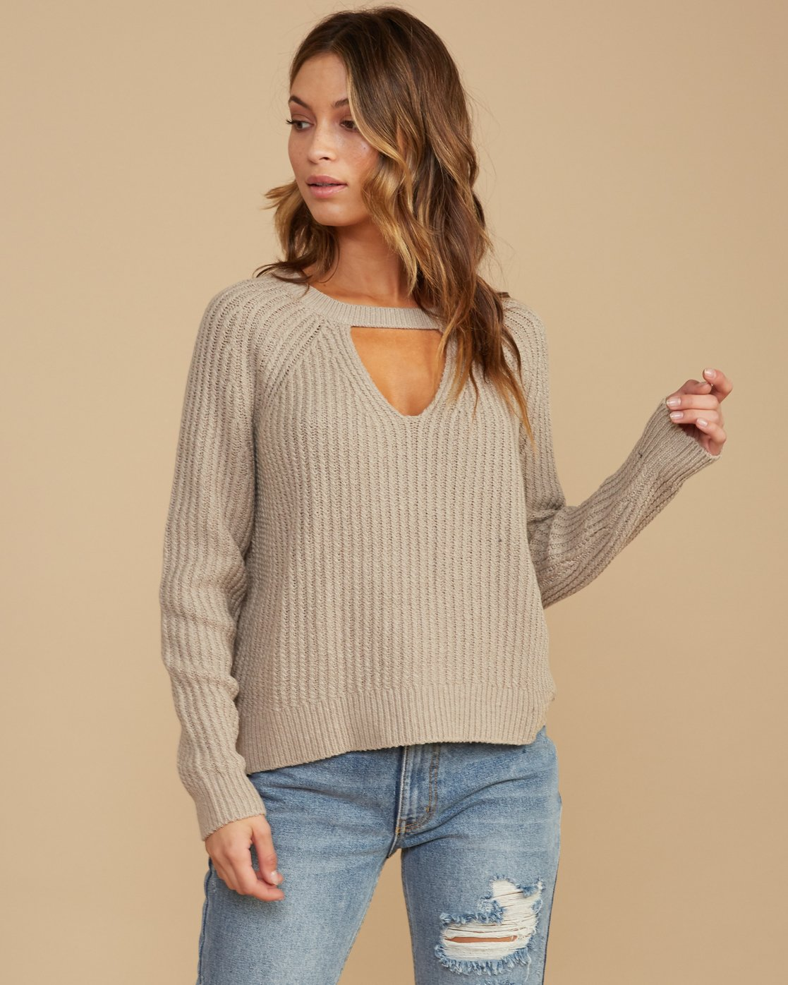 0 Case Knit Keyhole Sweater Beige WV02QRCA RVCA