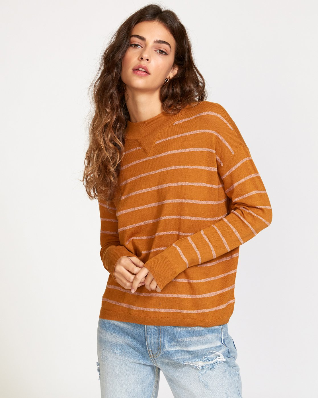 0 Tristan Striped Sweater Orange WV02VRTR RVCA