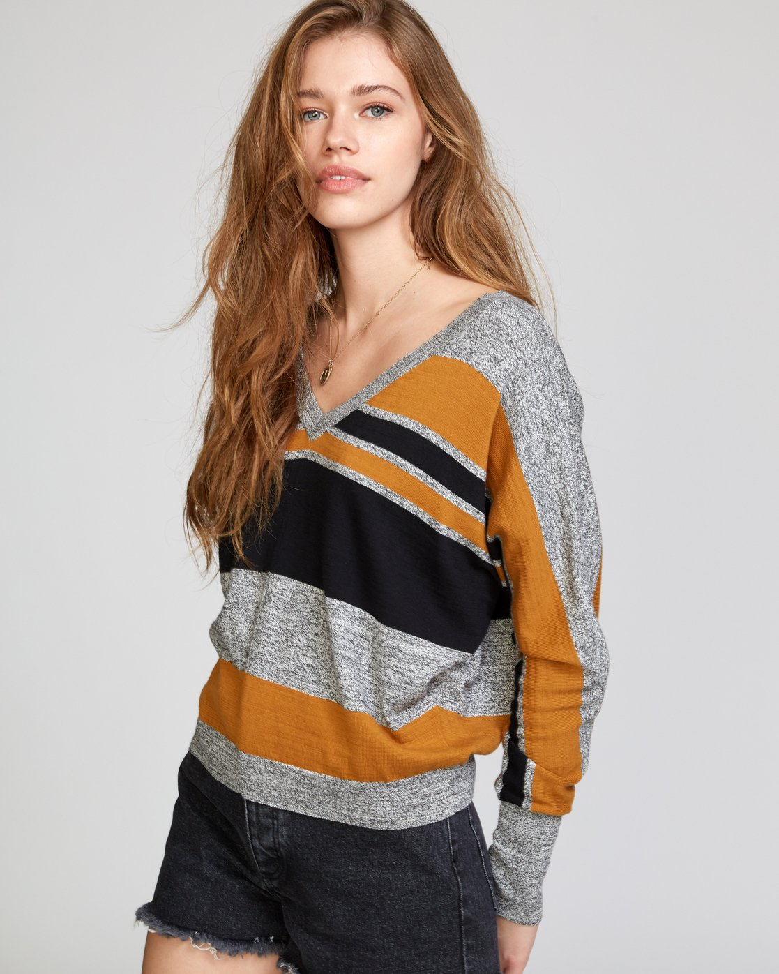 3 Carter Striped Sweater Orange WV03VRCA RVCA