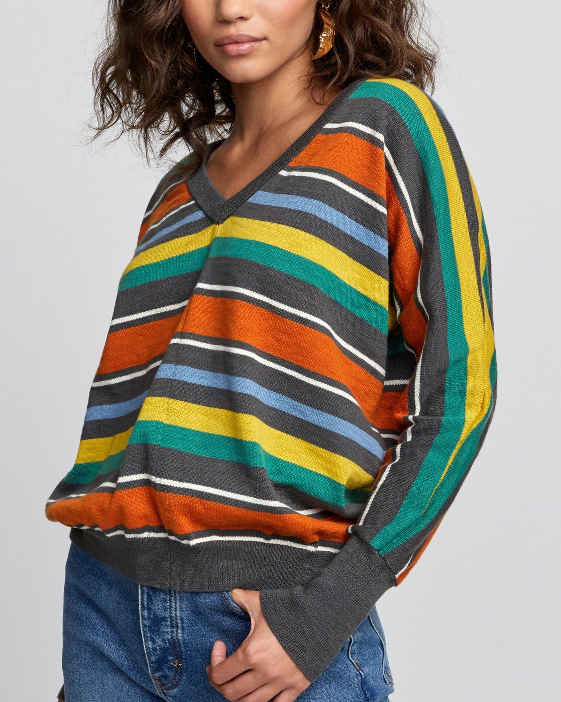 2 Carter Striped Sweater Grey WV03VRCA RVCA