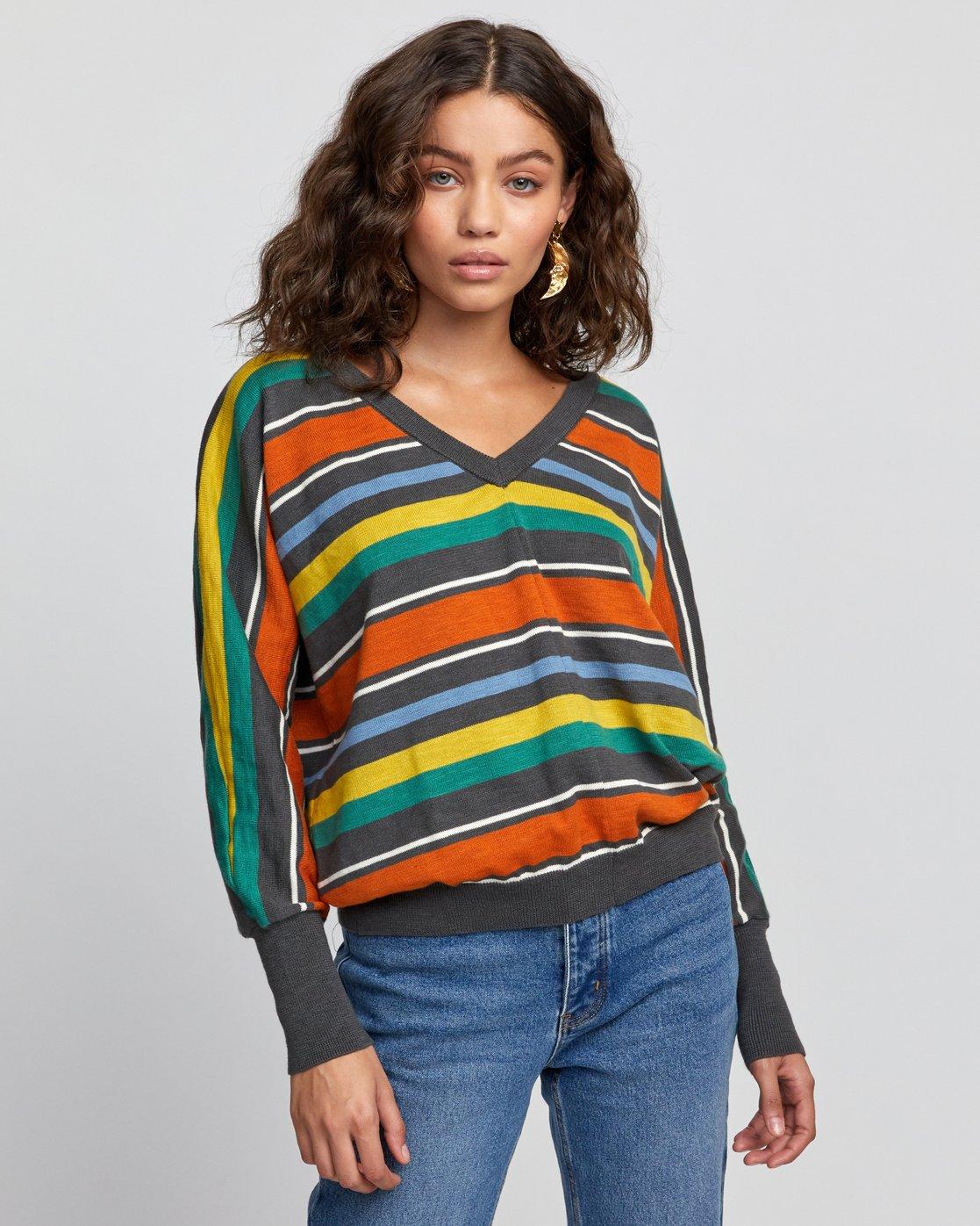 0 Carter Striped Sweater Grey WV03VRCA RVCA