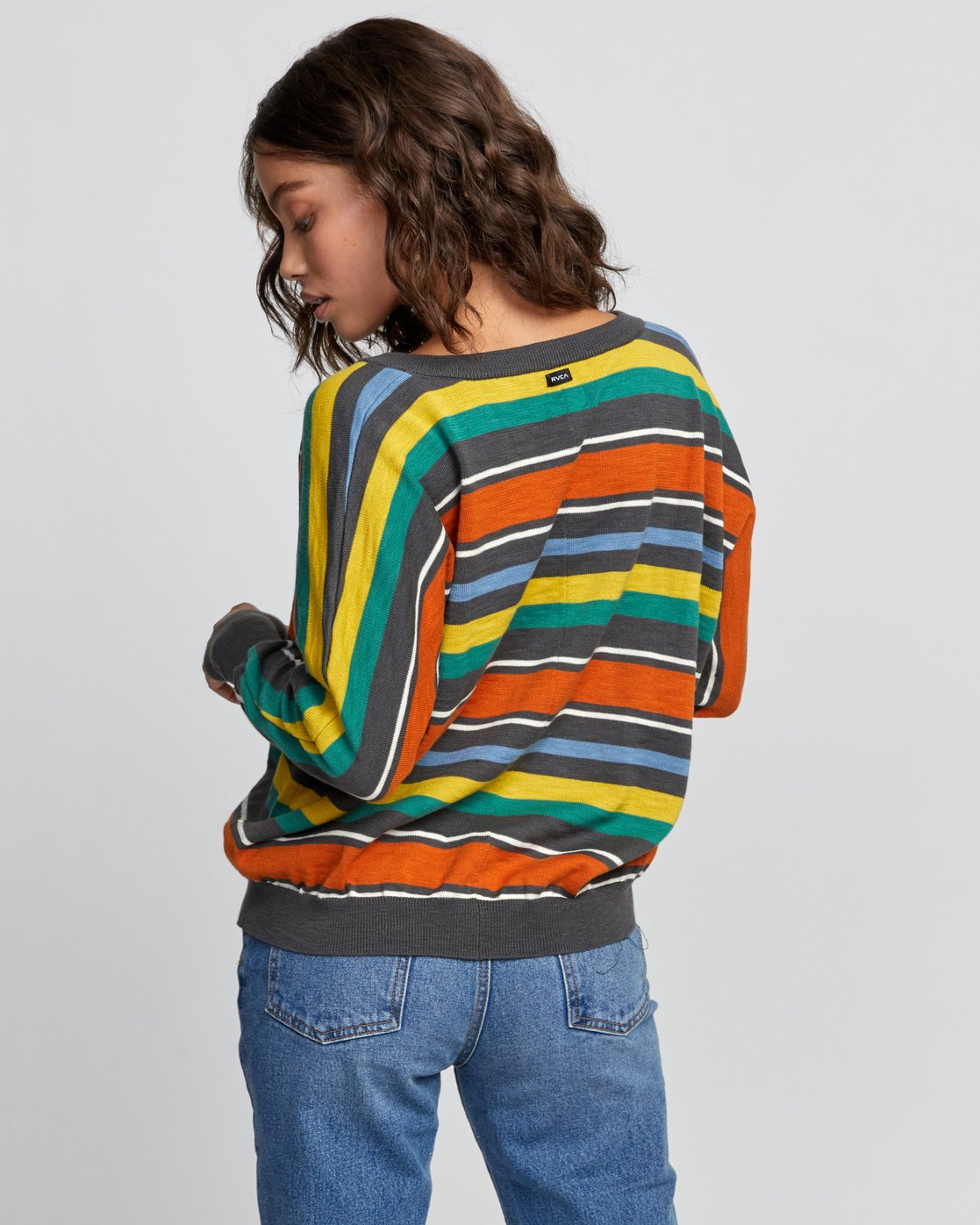 4 Carter Striped Sweater Grey WV03VRCA RVCA