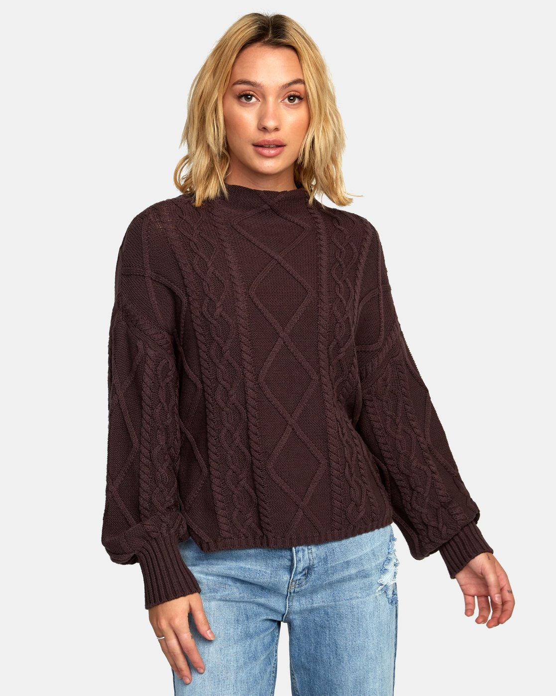 1 Attraction Knit Sweater Blue WV03WRAT RVCA