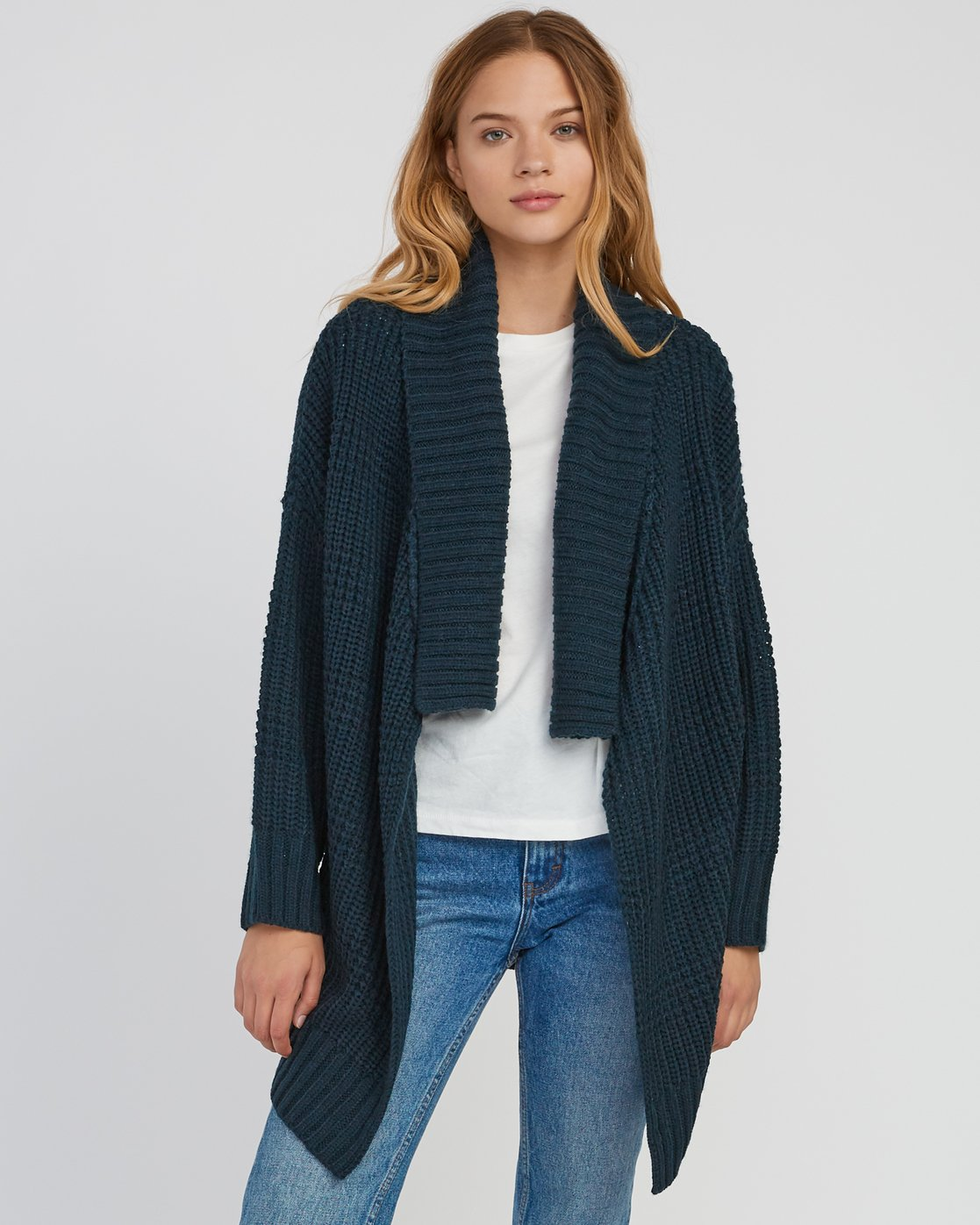 0 This Is It Oversized Knit Cardigan Grey WV04SRTH RVCA