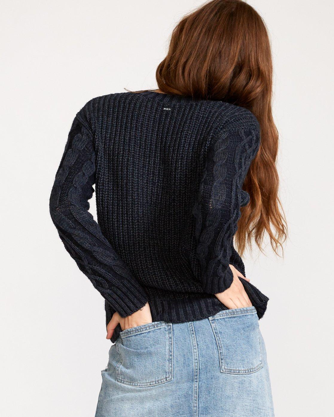 2 Ember Oversized Knit Sweater Blue WV04VREM RVCA