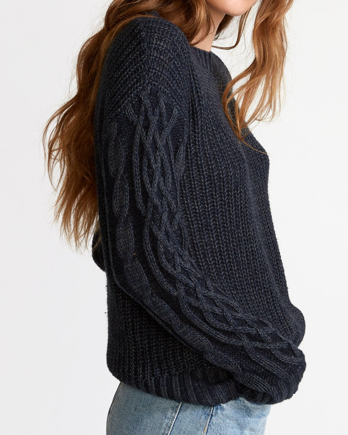 3 Ember Oversized Knit Sweater Blue WV04VREM RVCA