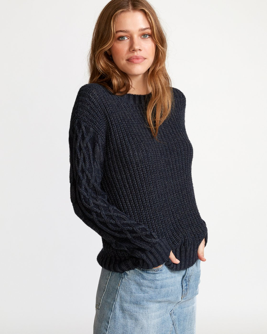1 Ember Oversized Knit Sweater Blue WV04VREM RVCA