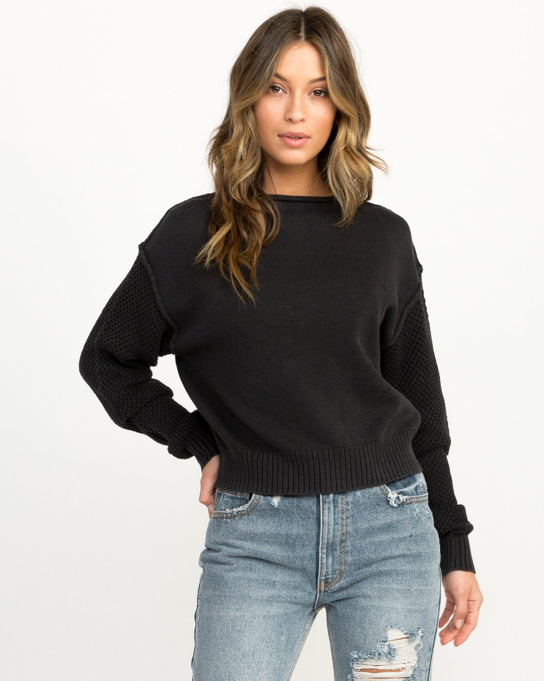 0 Exposed High Neck Sweater  Black WV05QREX RVCA