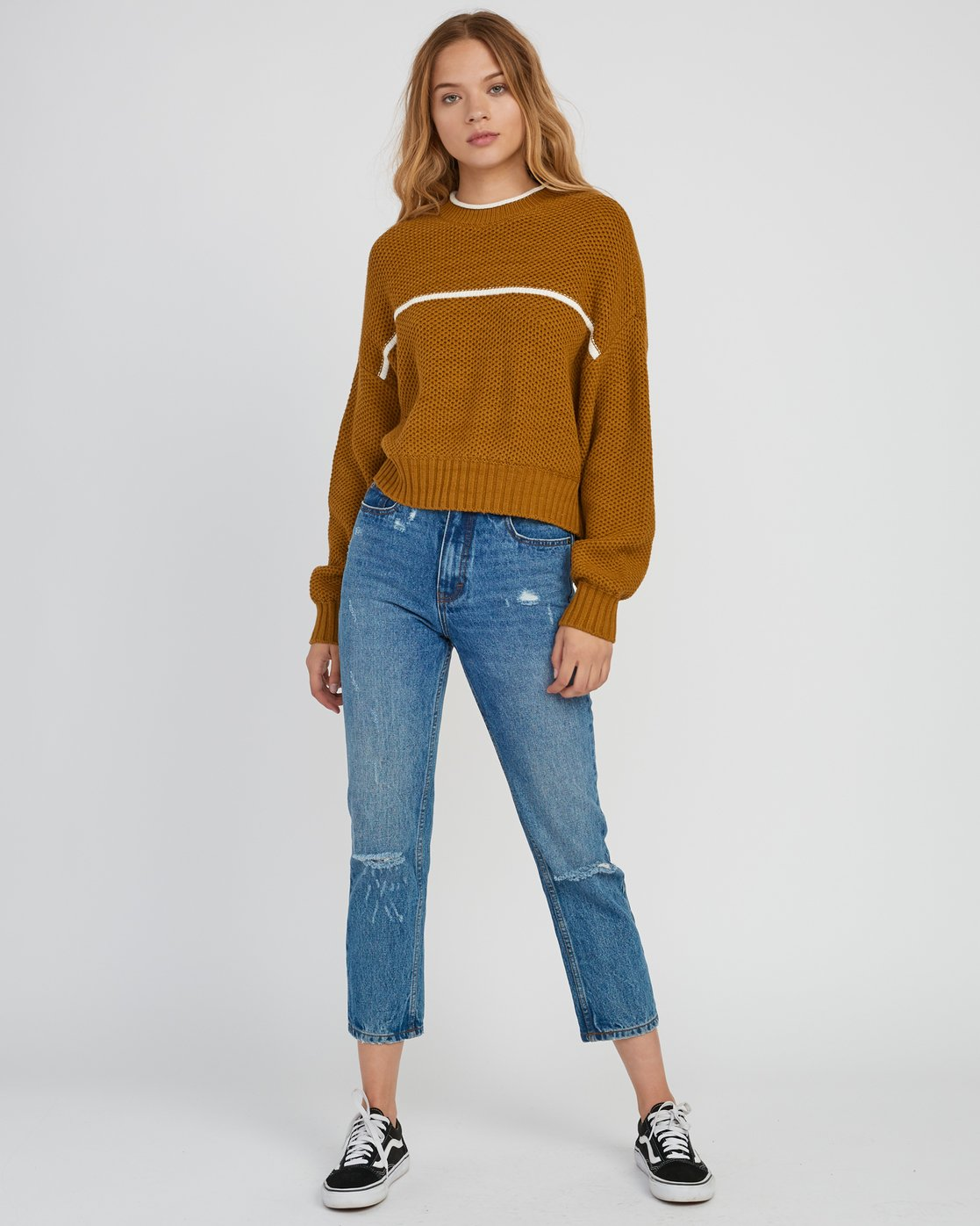 4 Jammer Cropped Knit Sweater Yellow WV05SRJA RVCA