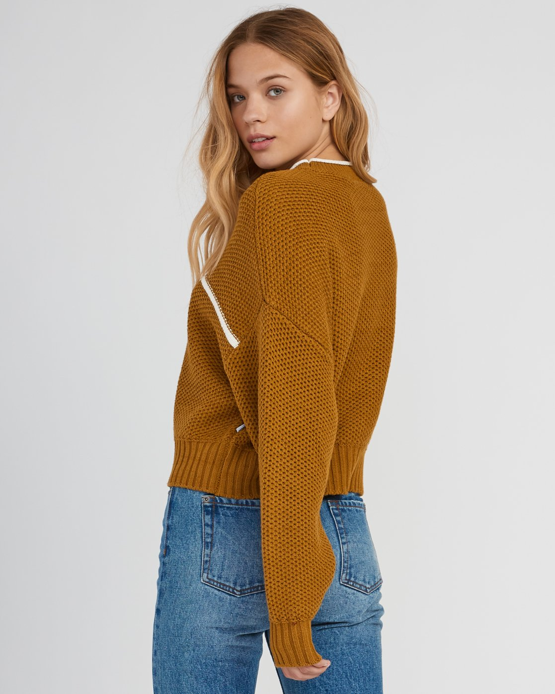 2 Jammer Cropped Knit Sweater Yellow WV05SRJA RVCA