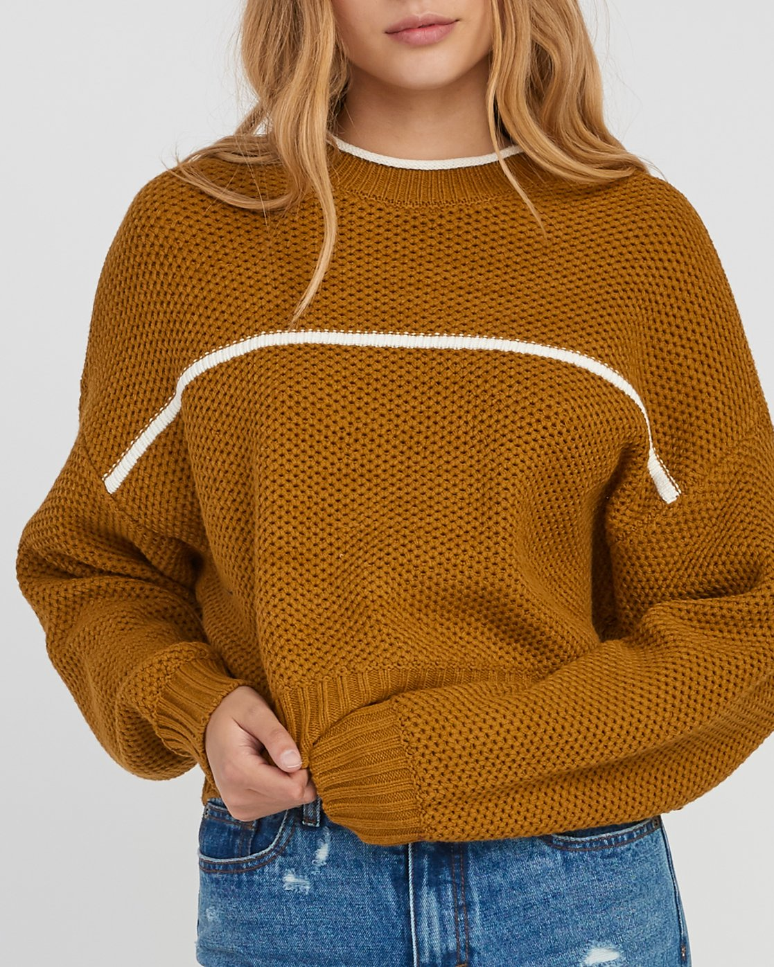 3 Jammer Cropped Knit Sweater Yellow WV05SRJA RVCA