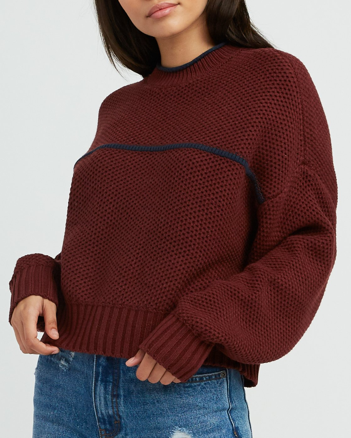 3 Jammer Cropped Knit Sweater Pink WV05SRJA RVCA