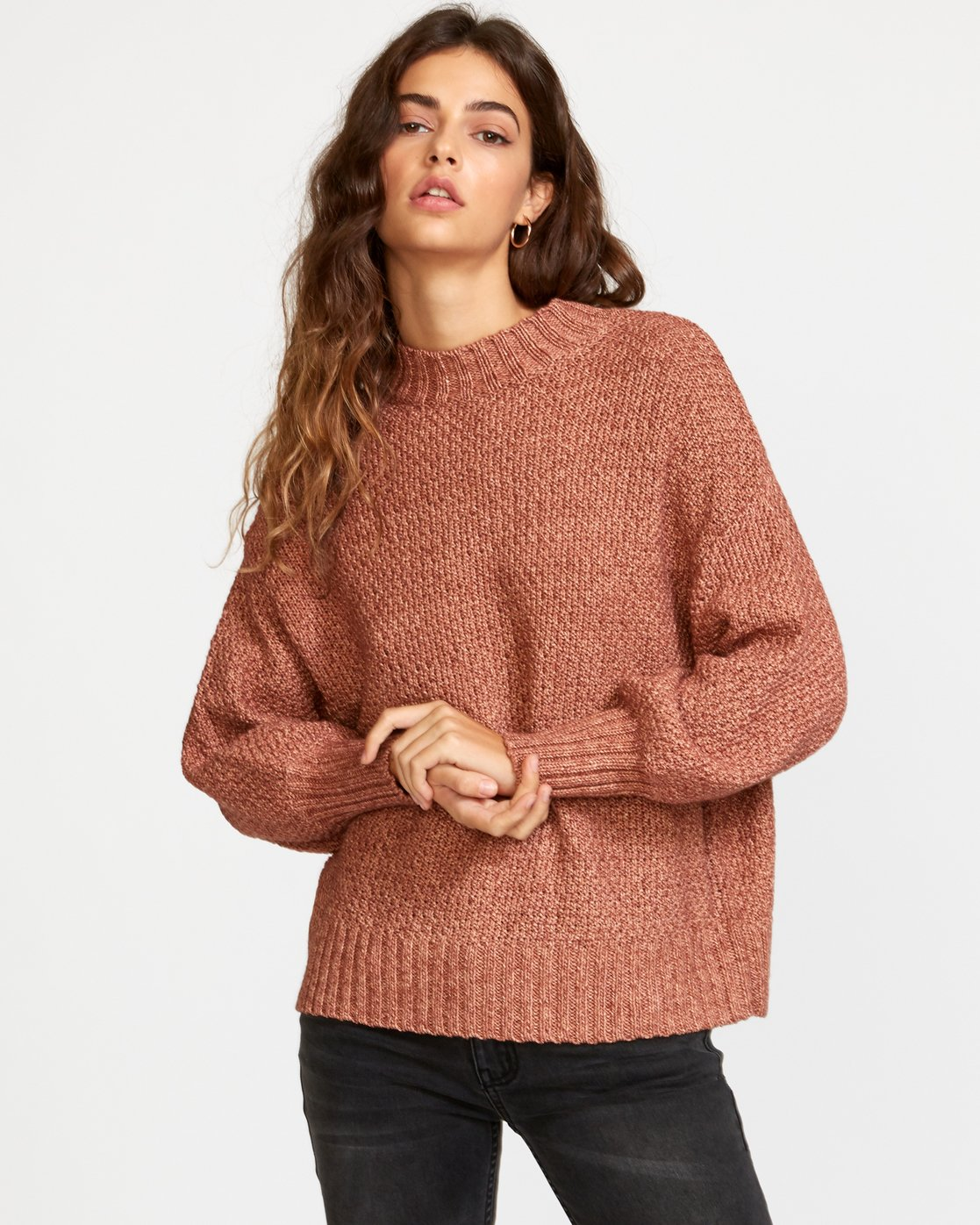 0 Volt Knit Mock Neck Sweater Brown WV05VRVO RVCA